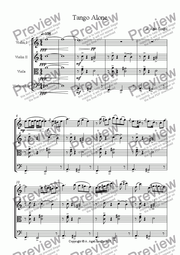 page one of Tango Alone