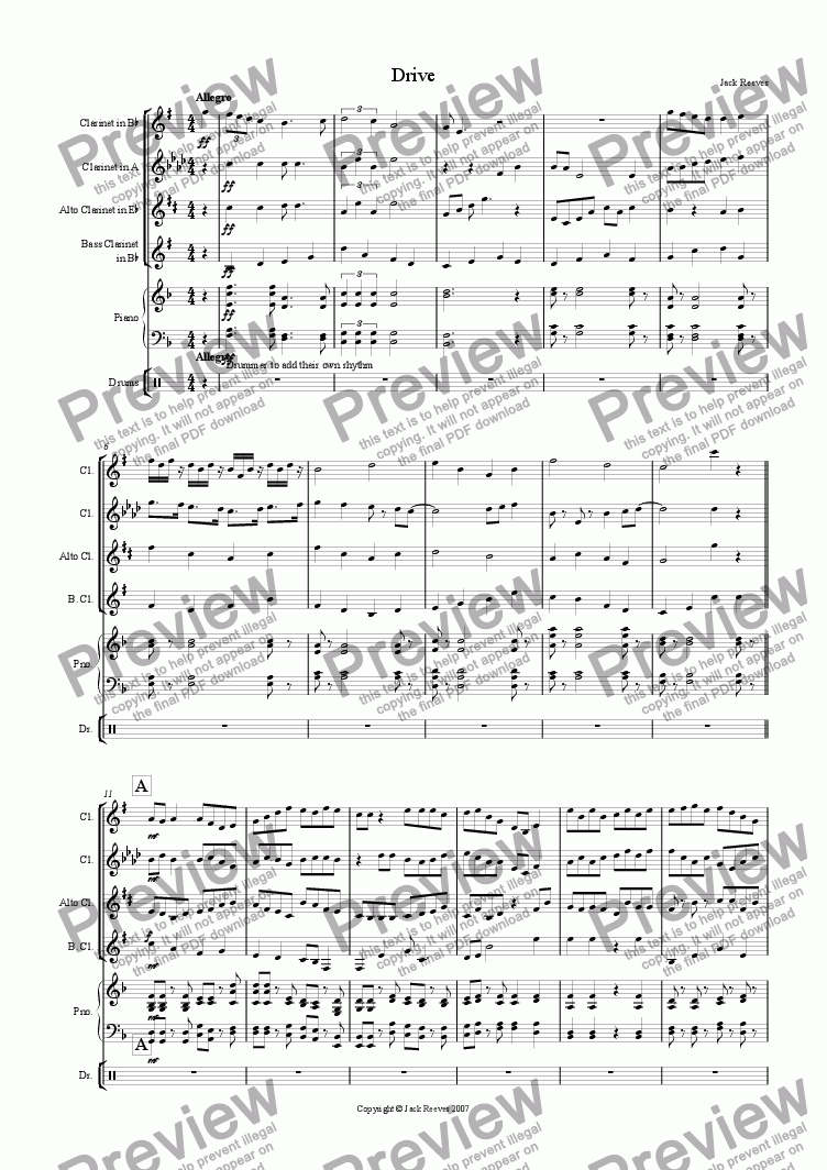 page one of Drive (Clarinet Quartet With Piano)