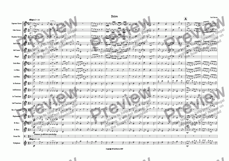 page one of Drive (Brass Band)