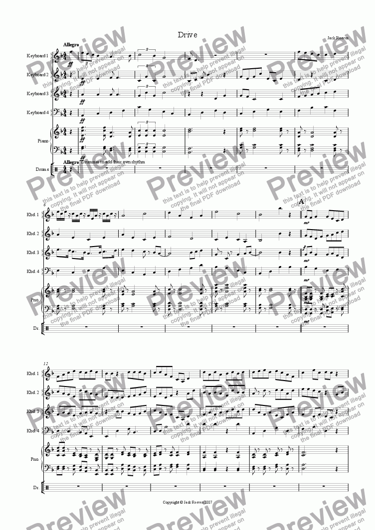 page one of Drive (Keyboard Ensemble)