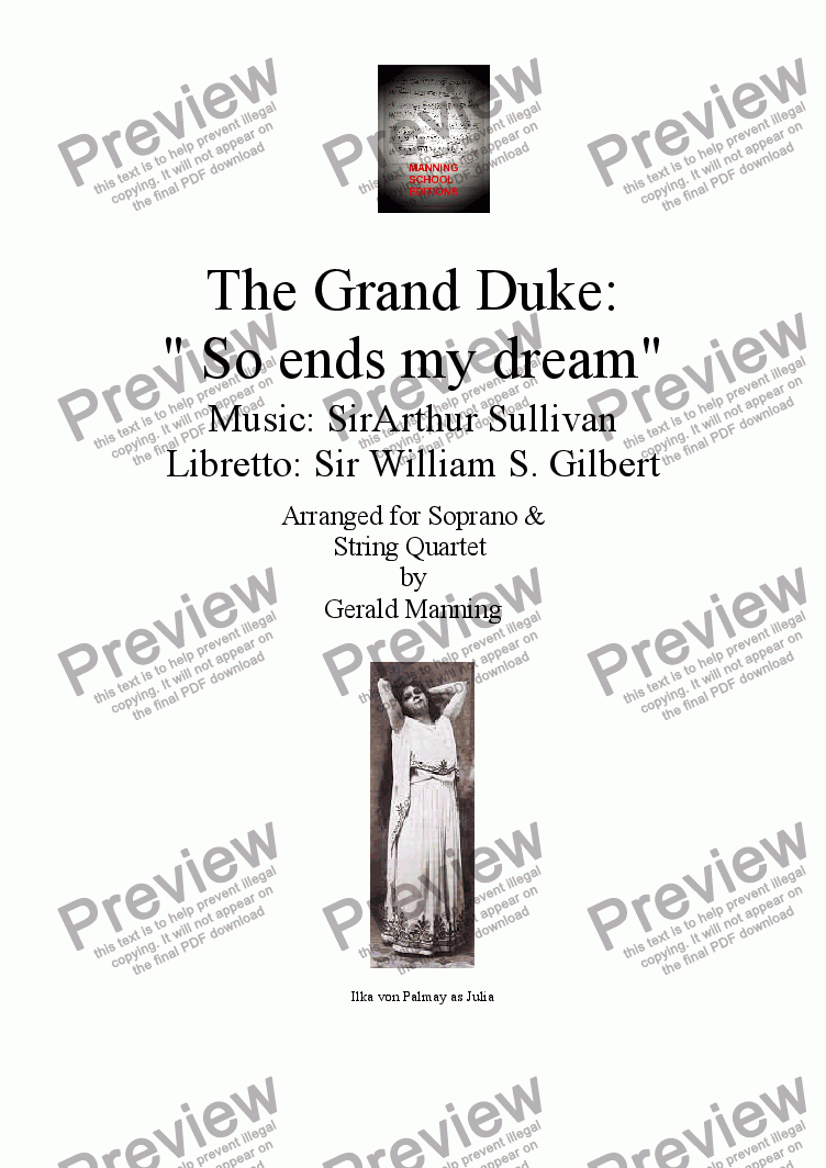 "page one of Gilbert & Sullivan - Songs from the Savoy Operas - The Grand Duke: - ""So ends my dream"" - arr. for Soprano & String Quartet by Gerald Manning"