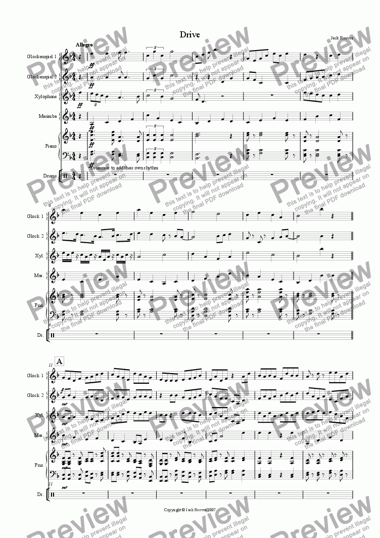 page one of Drive (Percussion Quartet with Piano)