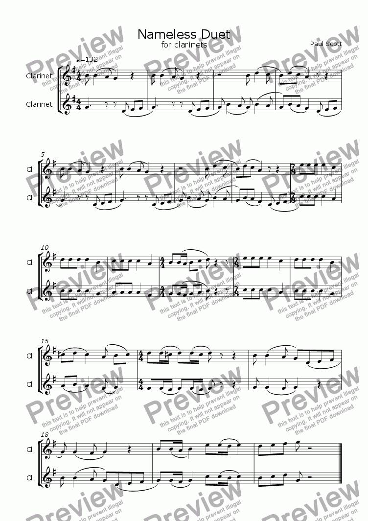 page one of Nameless for 2 clarinets