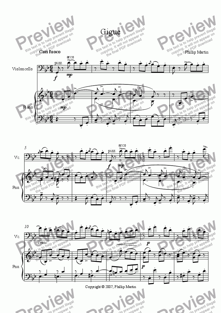 page one of Gigue