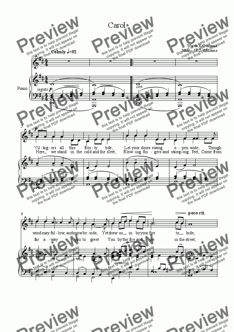 page one of Christmas carol from Wind in the Willows:Unison Version