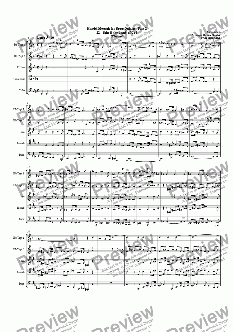 page one of Handel - Messiah 22-34 for Brass Quintet