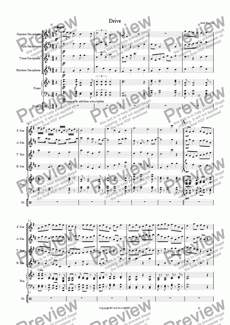 page one of Drive (Saxophone Quartet with Piano)