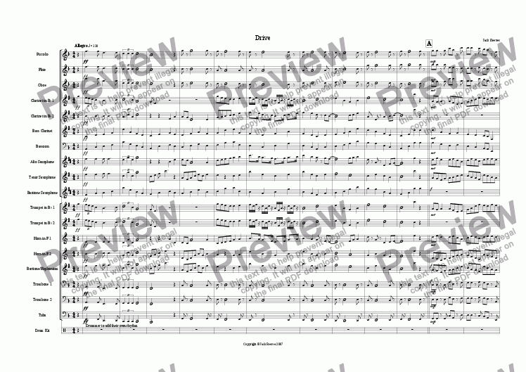 page one of Drive (Wind Band)
