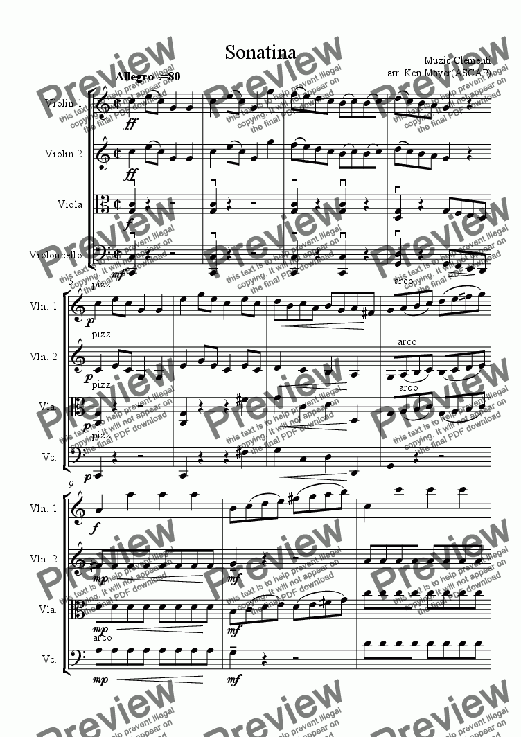 page one of Sonatina