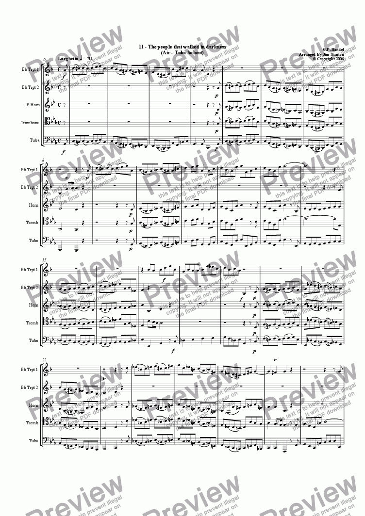 page one of Handel - Messiah 11-21 for Brass Quintet