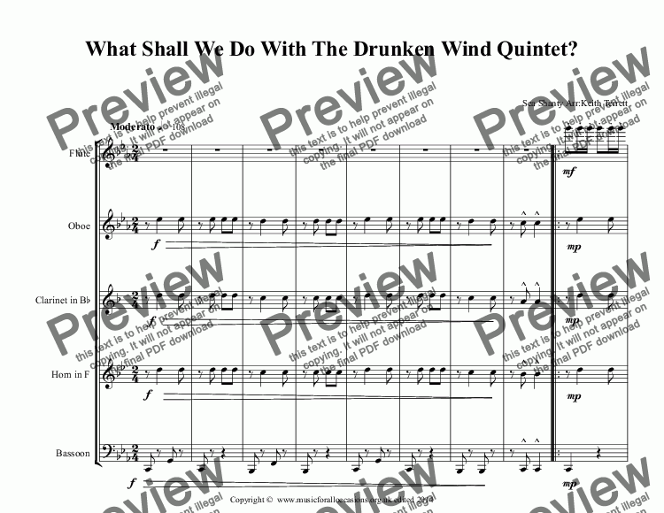 page one of What Shall We Do With The Drunken Wind Quintet?
