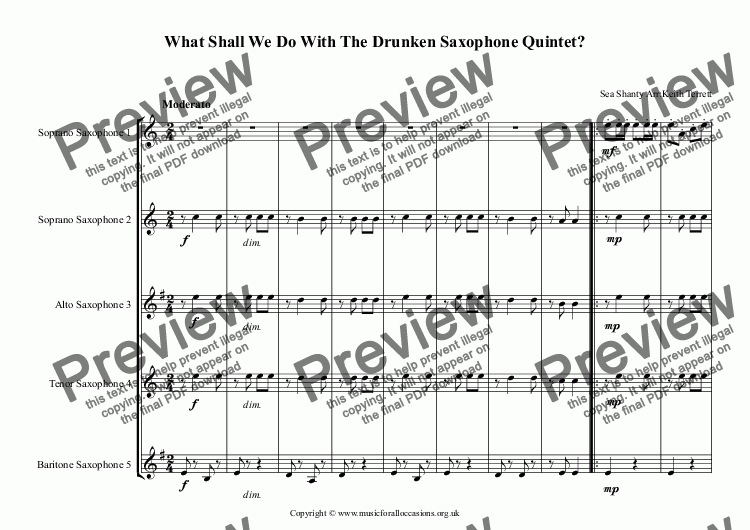page one of What Shall We Do With The Drunken Saxophone Quintet?ASALTTEXT