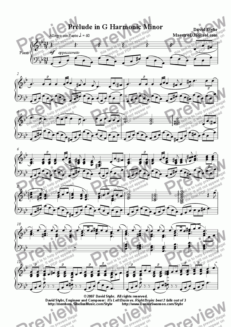 page one of Pr�lude in G Harmonic Minor