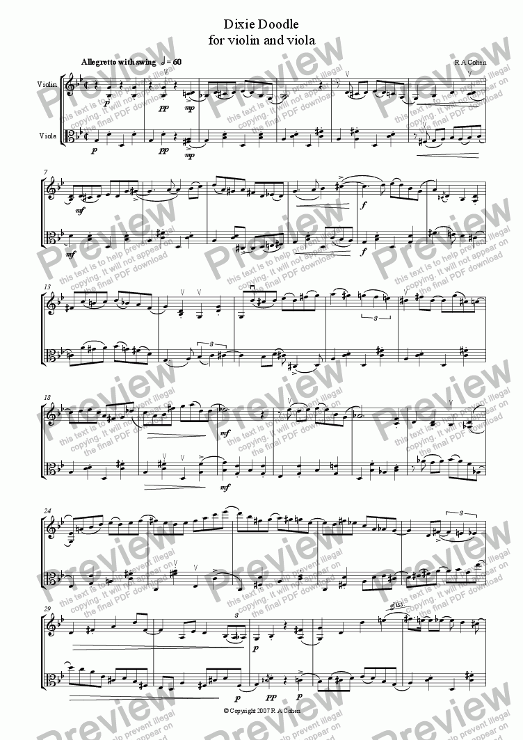 page one of DIXIE DOODLE - for violin and viola