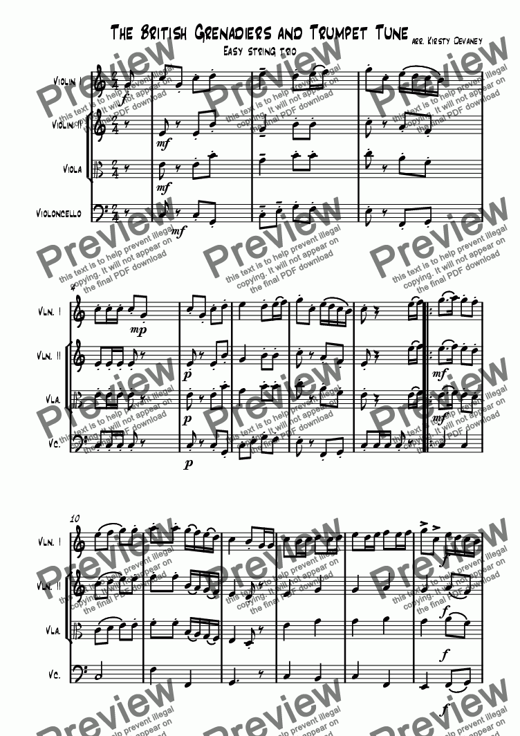 page one of Trumpet Tune (String Trio)