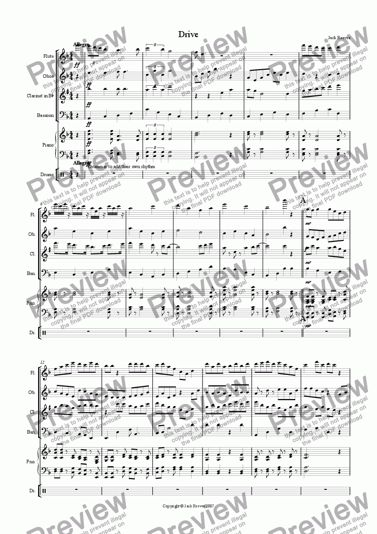 page one of Drive (Wind Quartet with Piano)