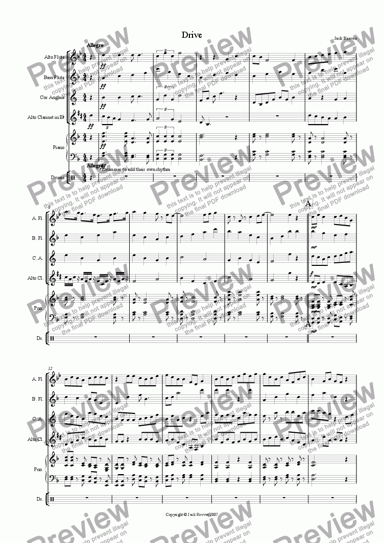 page one of Drive (Mid Wind Quartet with Piano)