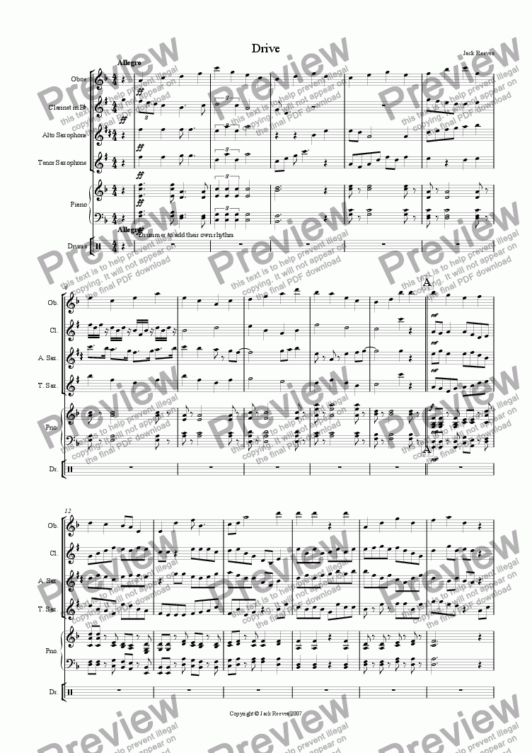 page one of Drive (High Wind Quartet with Piano)