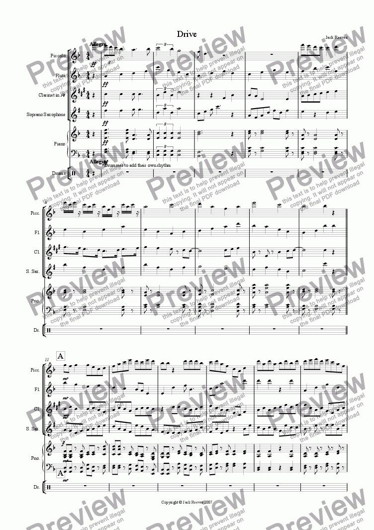 page one of Drive (Very High Wind Quartet with Piano)