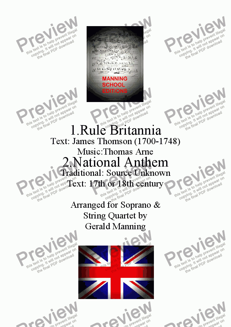 page one of Music of Pageant & Patriotism - Arne, T. - Rule Britannia! & Trad. - The National Anthem (God Save the Queen) - arr. for Soprano & String Quartet by Gerald Manning