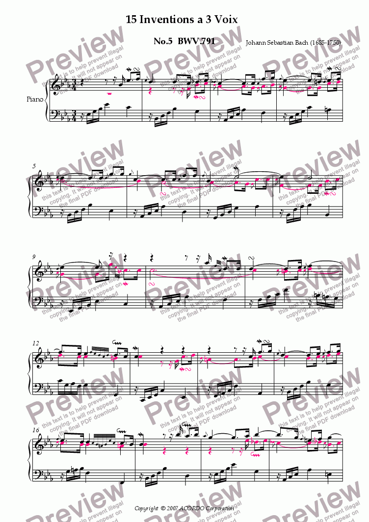 page one of Three Part Invention (Sinfonia) No.5 BWV.791 (Urtext/second part notes colored)