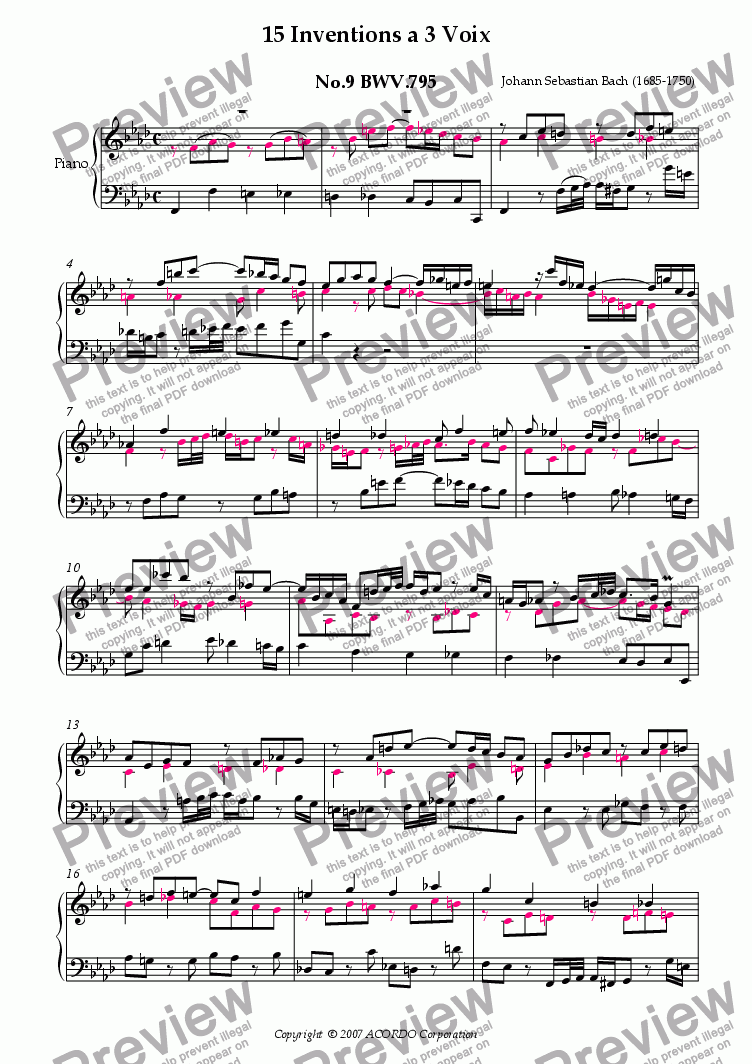 page one of Three Part Invention (Sinfonia) No.9 BWV.795 (Urtext/second part notes colored)