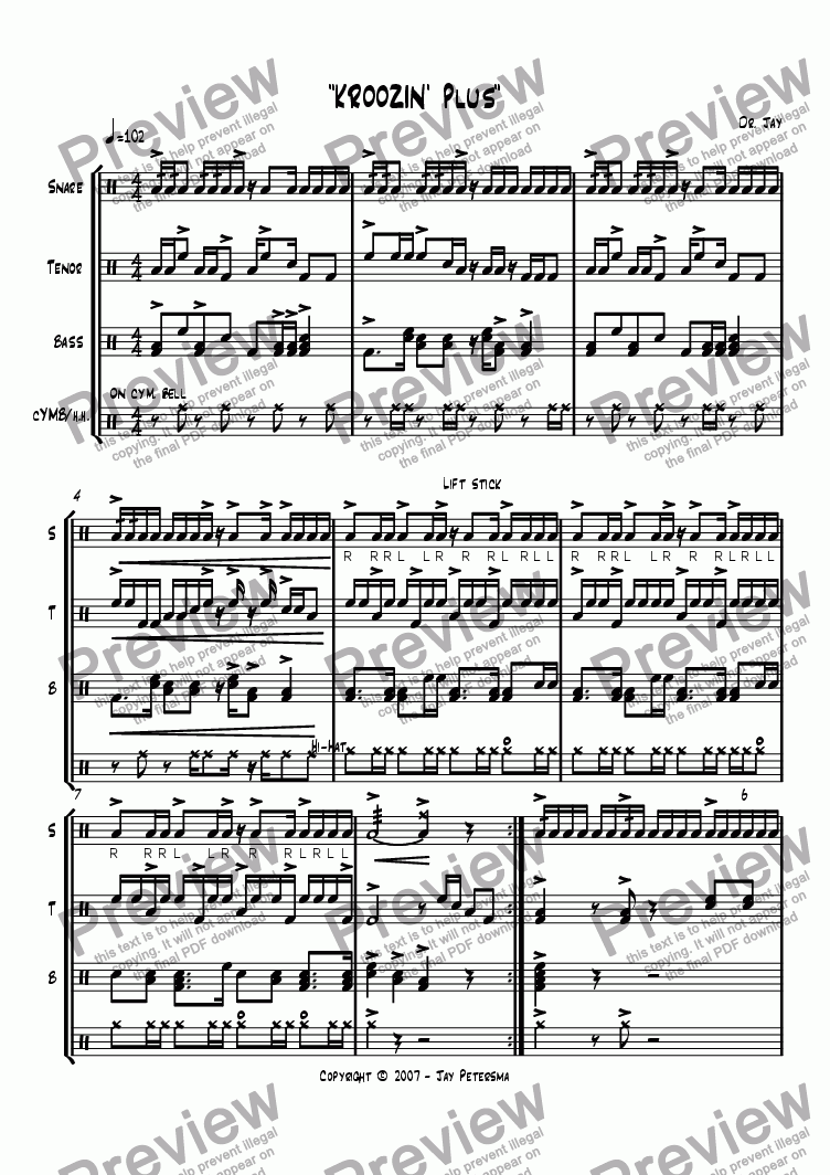 Kroozin' PLUS [Drumline Cadence] for Marching band by Jay Petersma - Sheet  Music PDF file to download