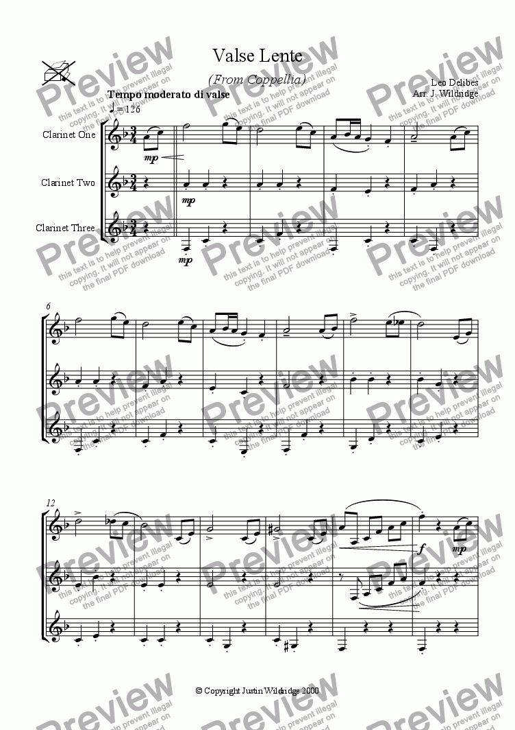 page one of Valse Lente (from Coppellia)