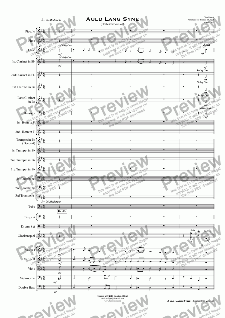 page one of Auld Lang Syne - Orchestra and/or Concert Band