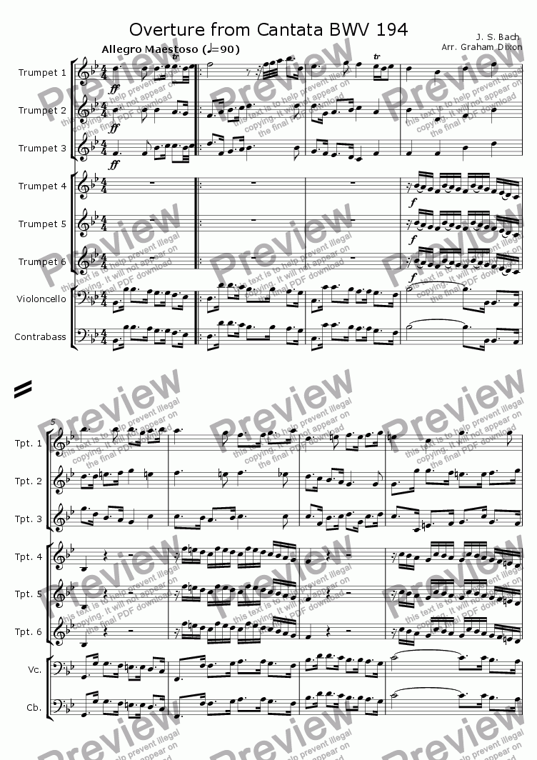 page one of Overture from Cantata BWV 194 for Six TrumpetsASALTTEXT
