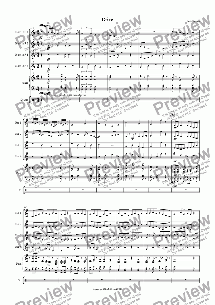 page one of Drive (Horn in F Quartet with Piano)