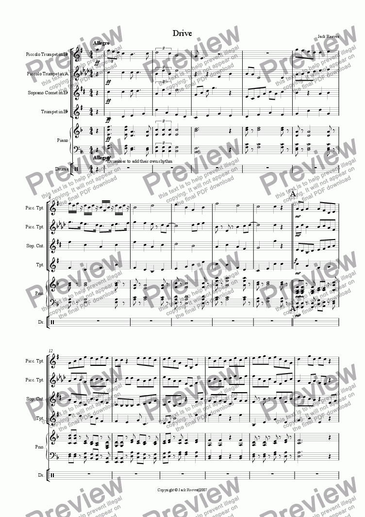 page one of Drive (Very High Brass Quartet with Piano)