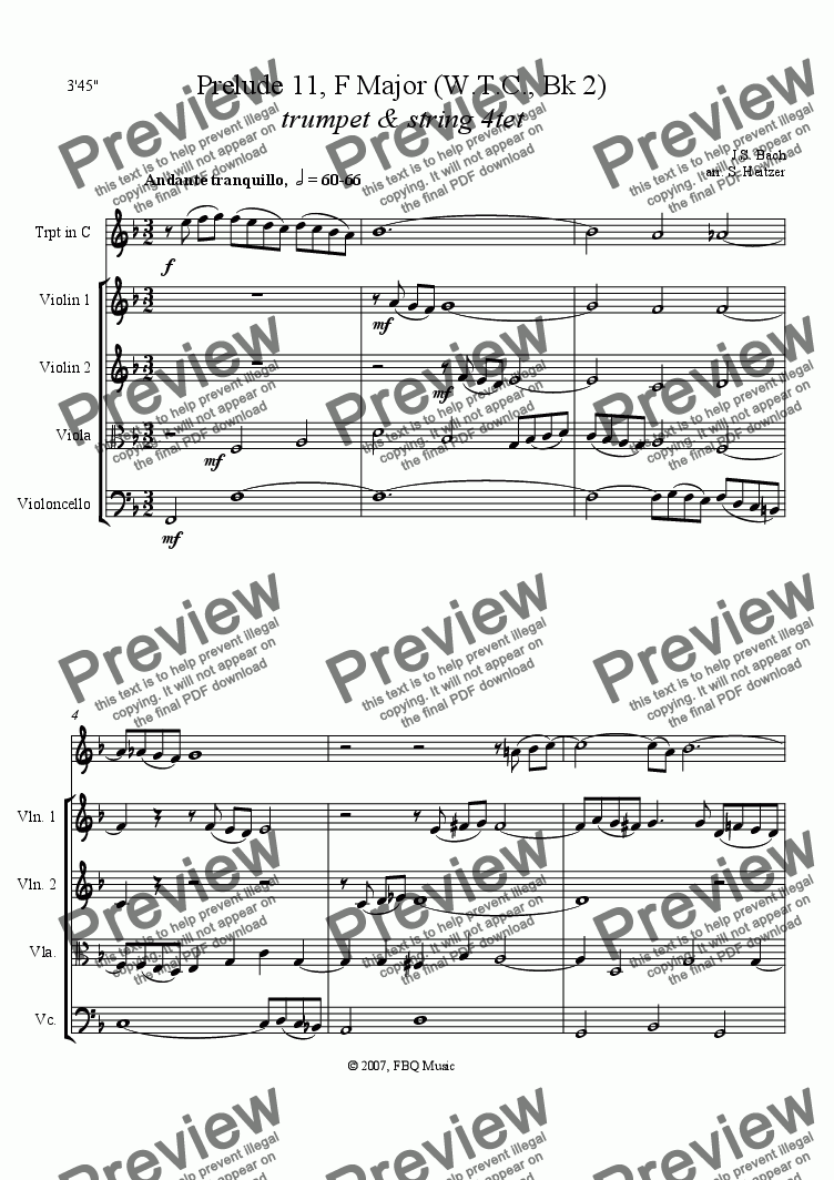 page one of Prelude No. 11, F major, WTC Bk 2 (trumpet & string 4tet)
