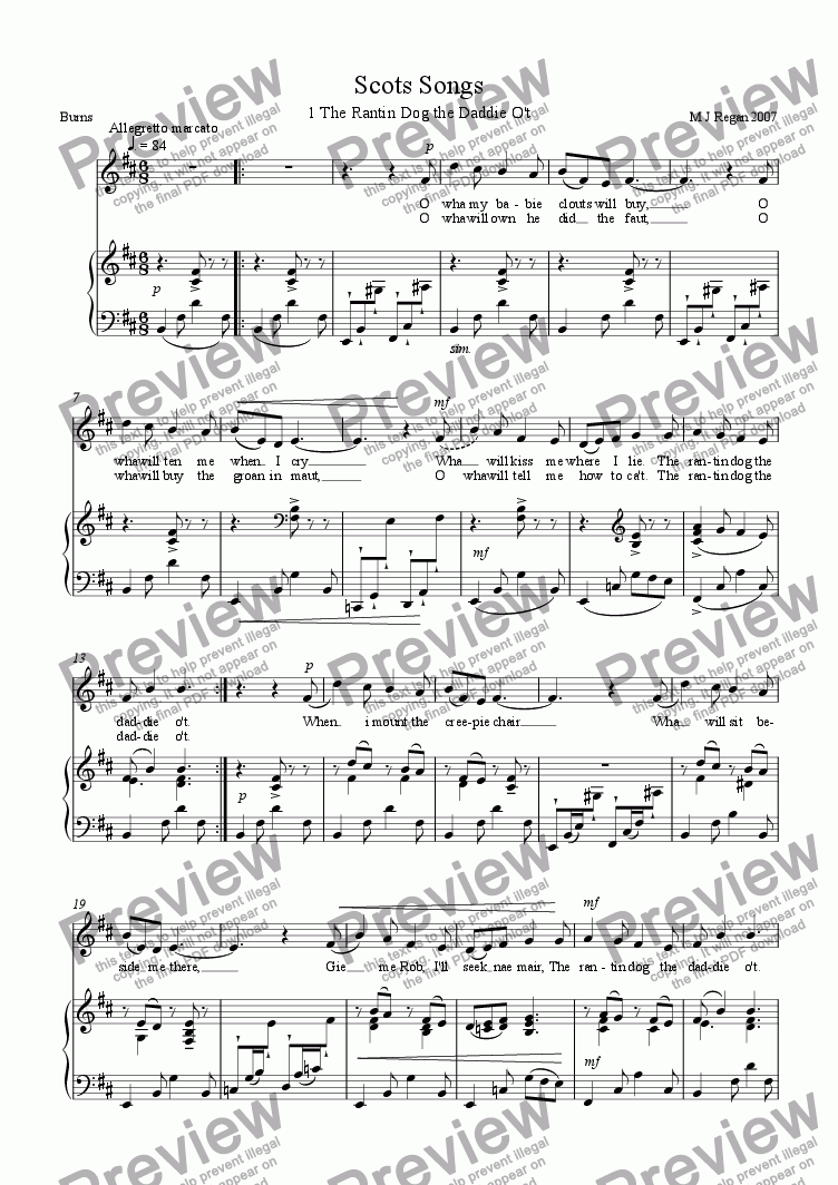page one of Scots songs