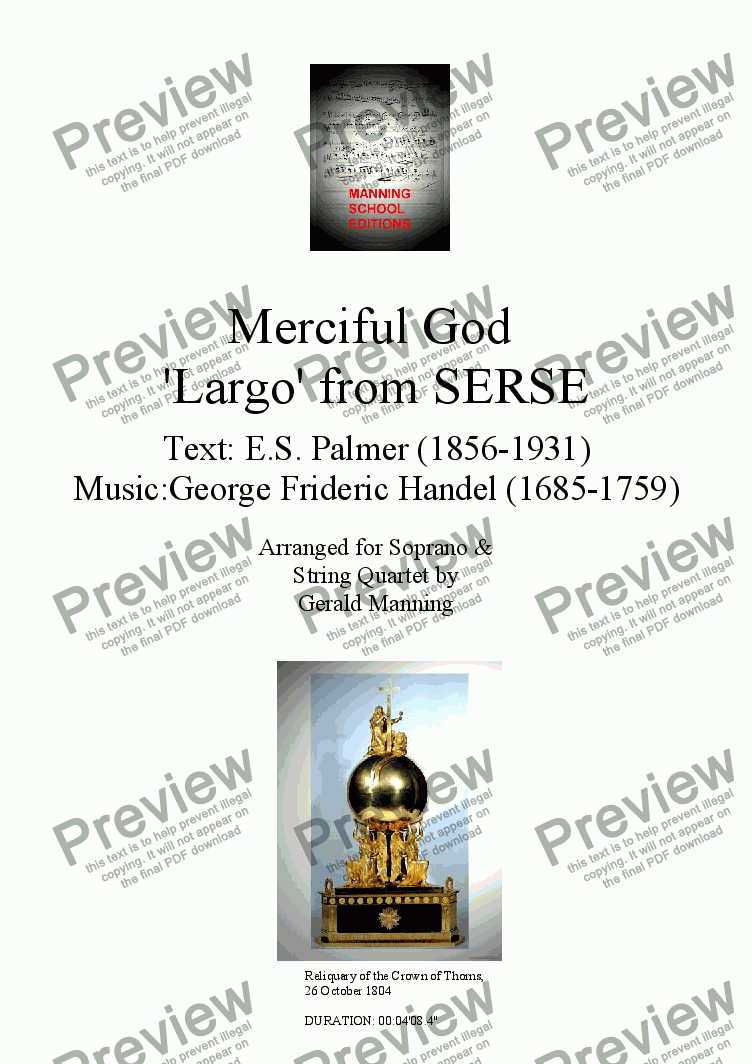 page one of Reliquary of Sacred Music - Handel, G. - Merciful God 'Largo' from Serse - for Soprano & String Quartet arr. by Gerald ManningASALTTEXT