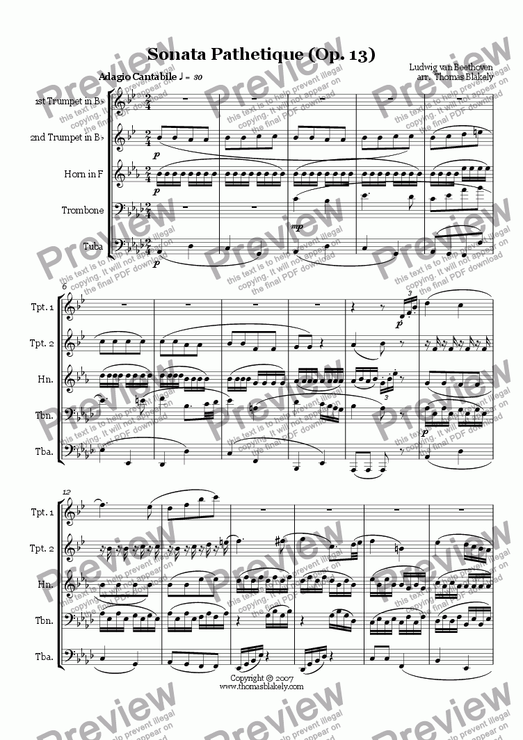 page one of Sonata Pathetique (Op. 13) Adagio for Brass Quintet
