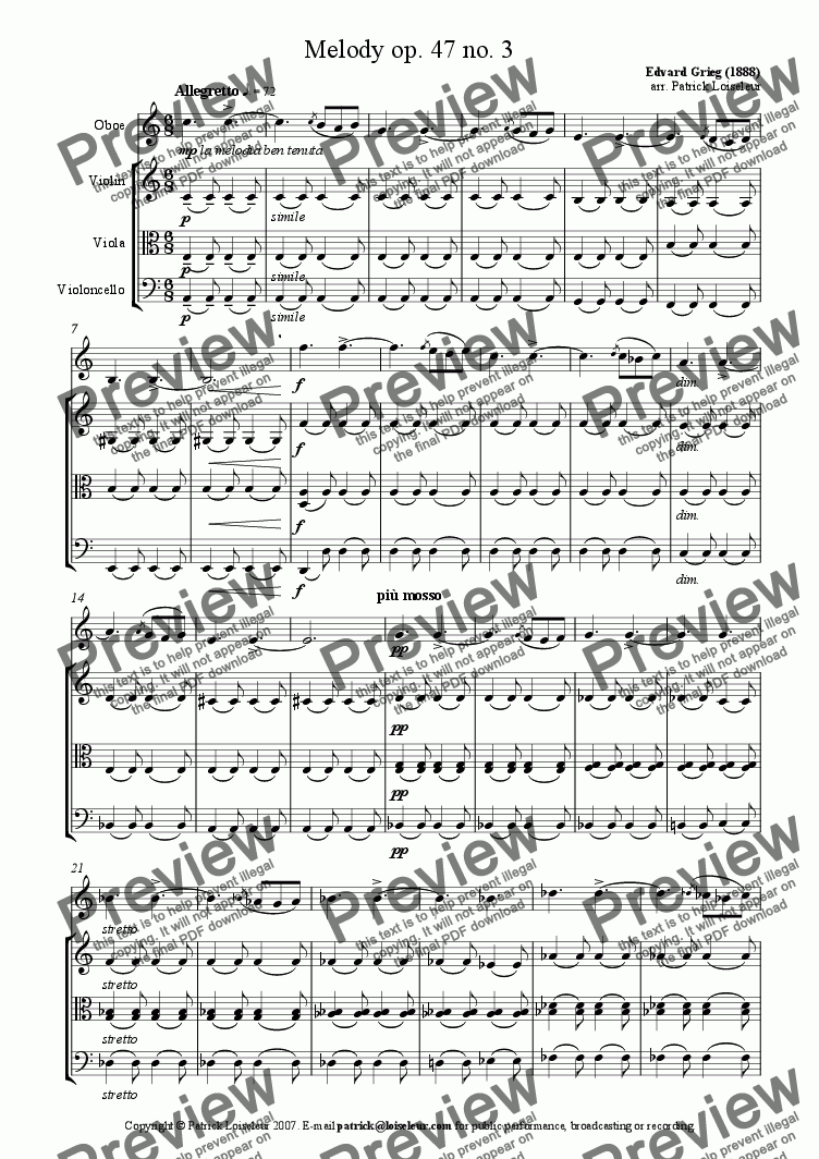 page one of Grieg: Melody op 47 no 3 for oboe and string trioASALTTEXT