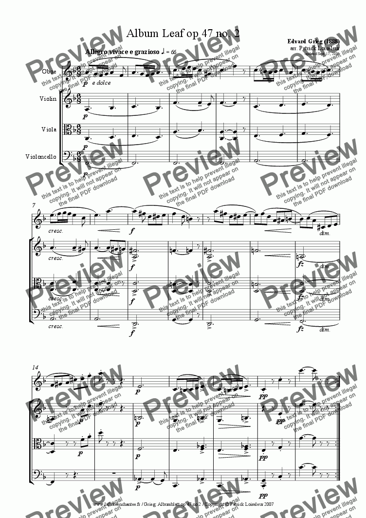 page one of Grieg: Album Leaf op 47 no 2 for oboe and string trioASALTTEXT