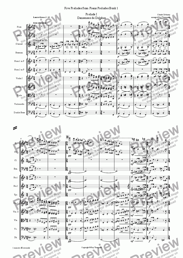 page one of Piano Preludes Book 1: 5 Preludes