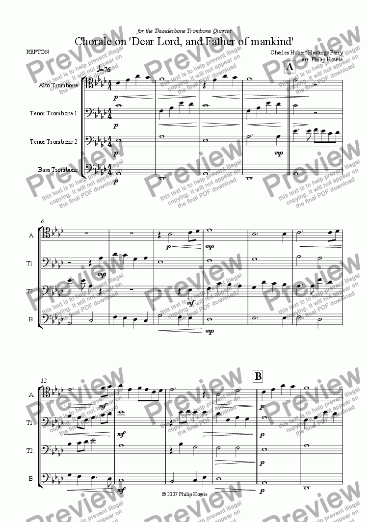 page one of Chorale on 'Dear Lord and Father of mankind' (ATTB Trombones)