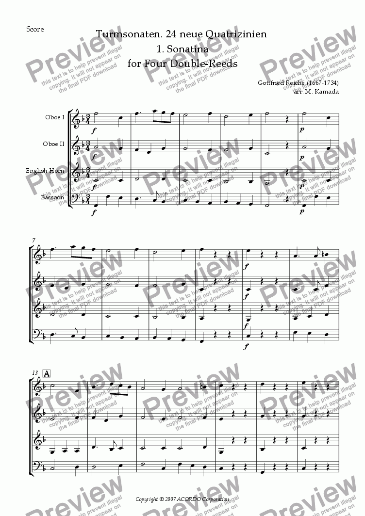 page one of Turmsonaten. 24 neue Quatrizinien 1. Sonatina for Four Double-Reeds