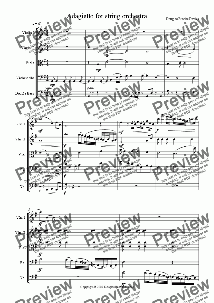 page one of Brooks-Davies: Adagietto for String Orchestra