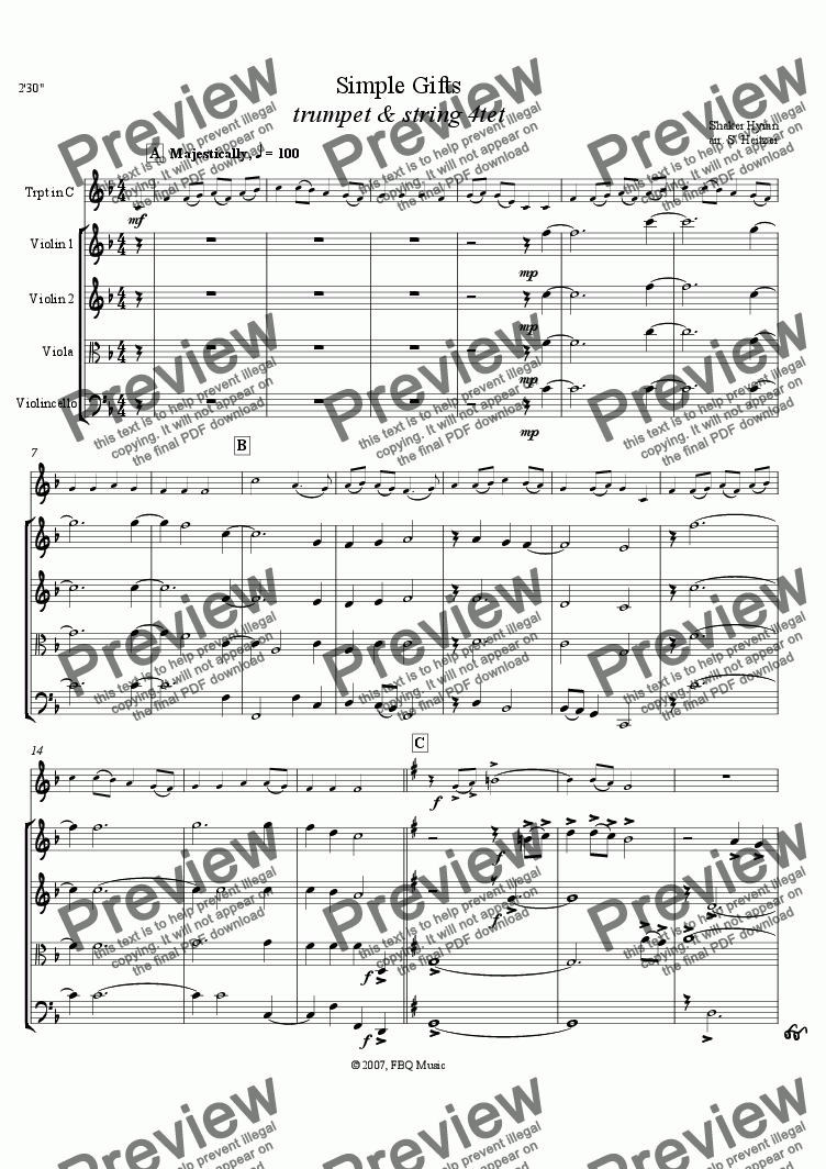 page one of Simple Gifts - Shaker hymn (trumpet & string 4tet)