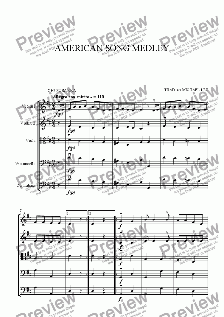 page one of American Song Medley For Strings