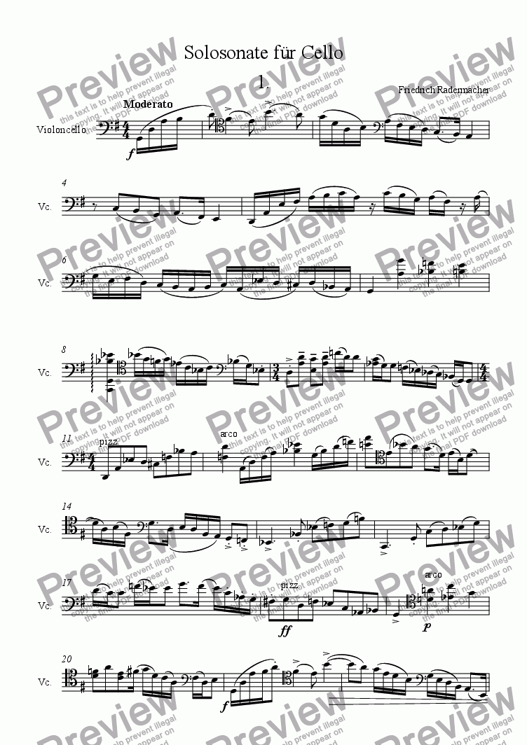 page one of Solosonate f�r Violoncello