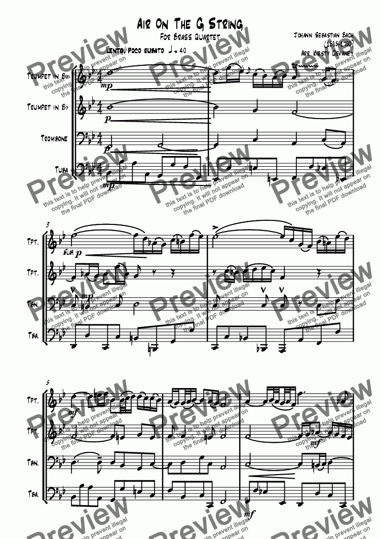page one of Air on the G string (Brass Quartet)ASALTTEXT