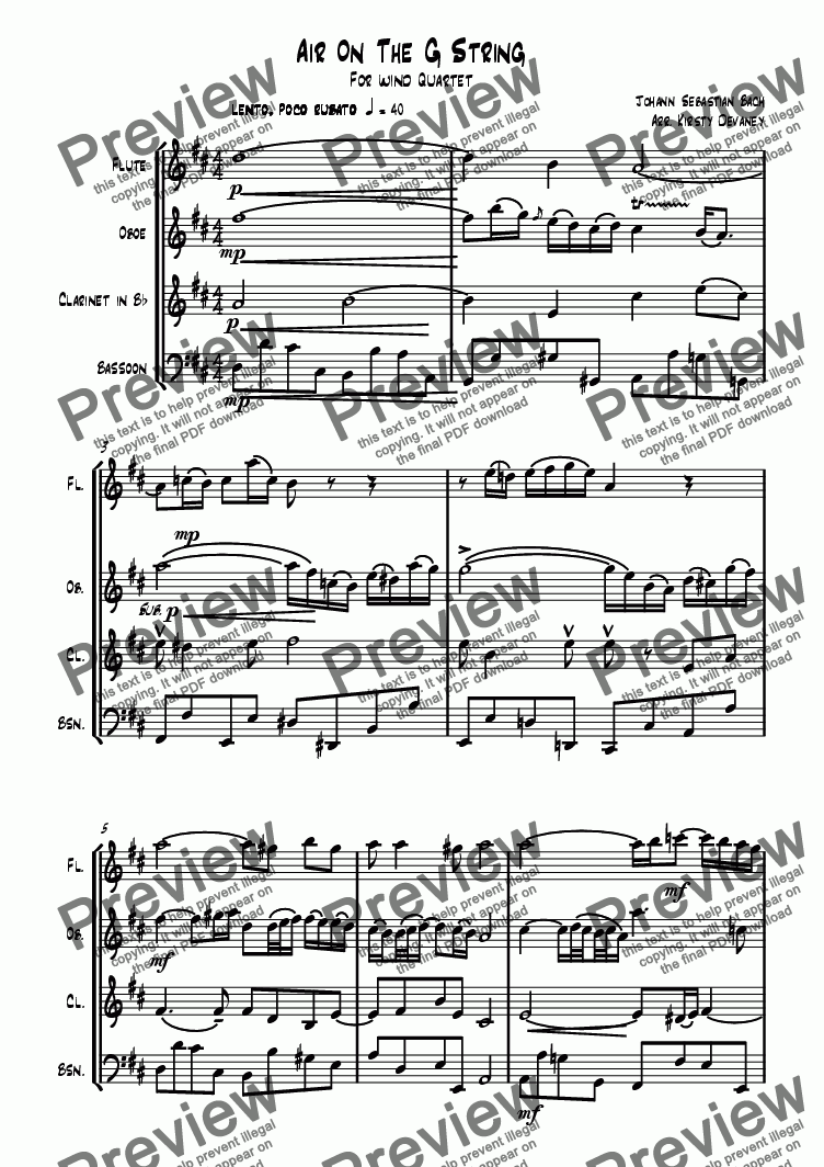 page one of Air on the G string (Wind Quartet)