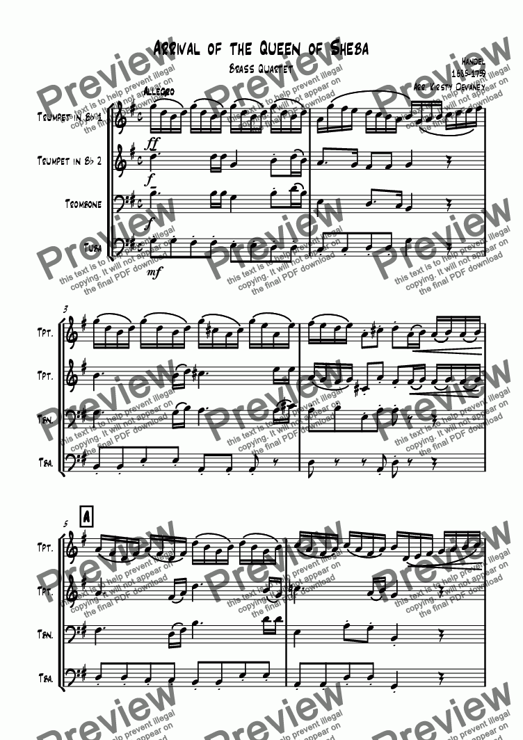 page one of Arrival of the queen of Sheba (Brass Quartet)