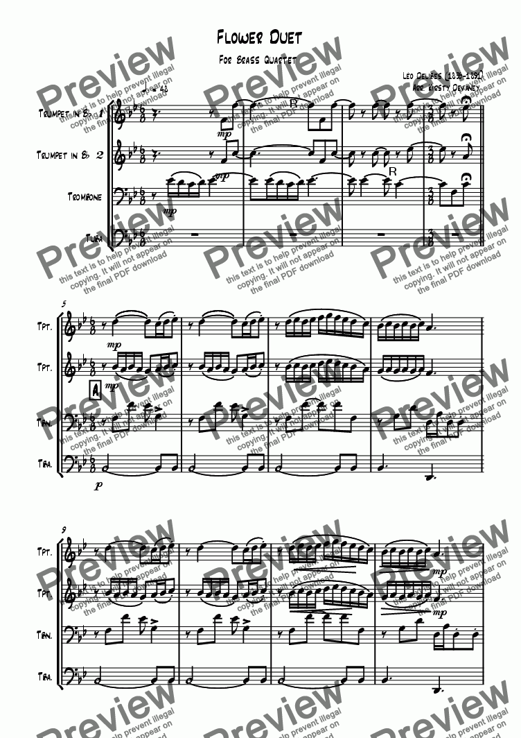 page one of Flower Duet (Brass Quartet)