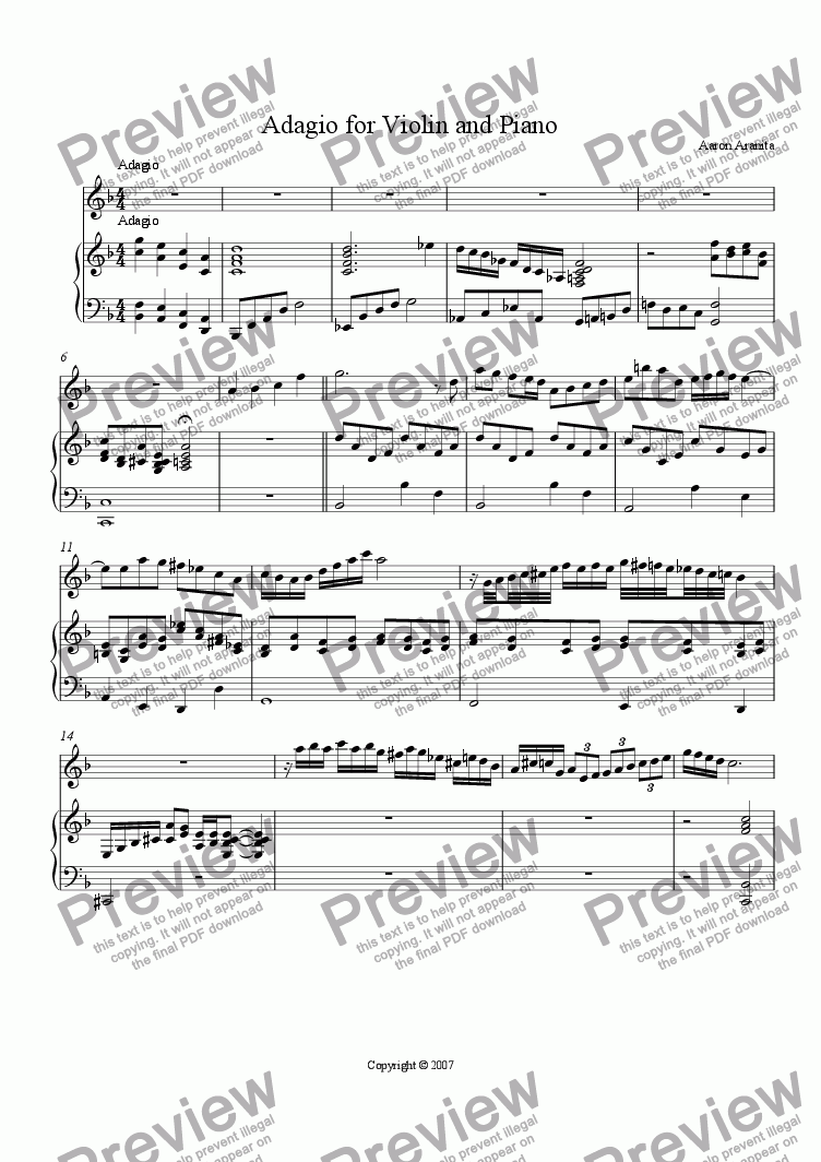 page one of Adagio for Violin and PianoASALTTEXT